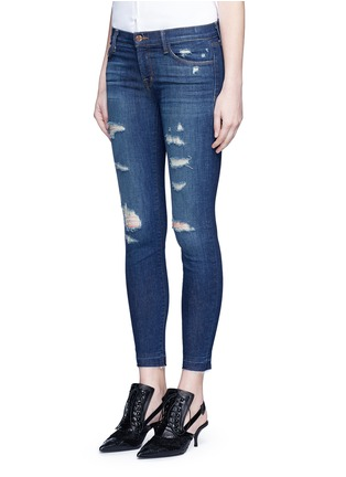 Front View - Click To Enlarge - J Brand - 'Cropped Skinny' distressed jeans