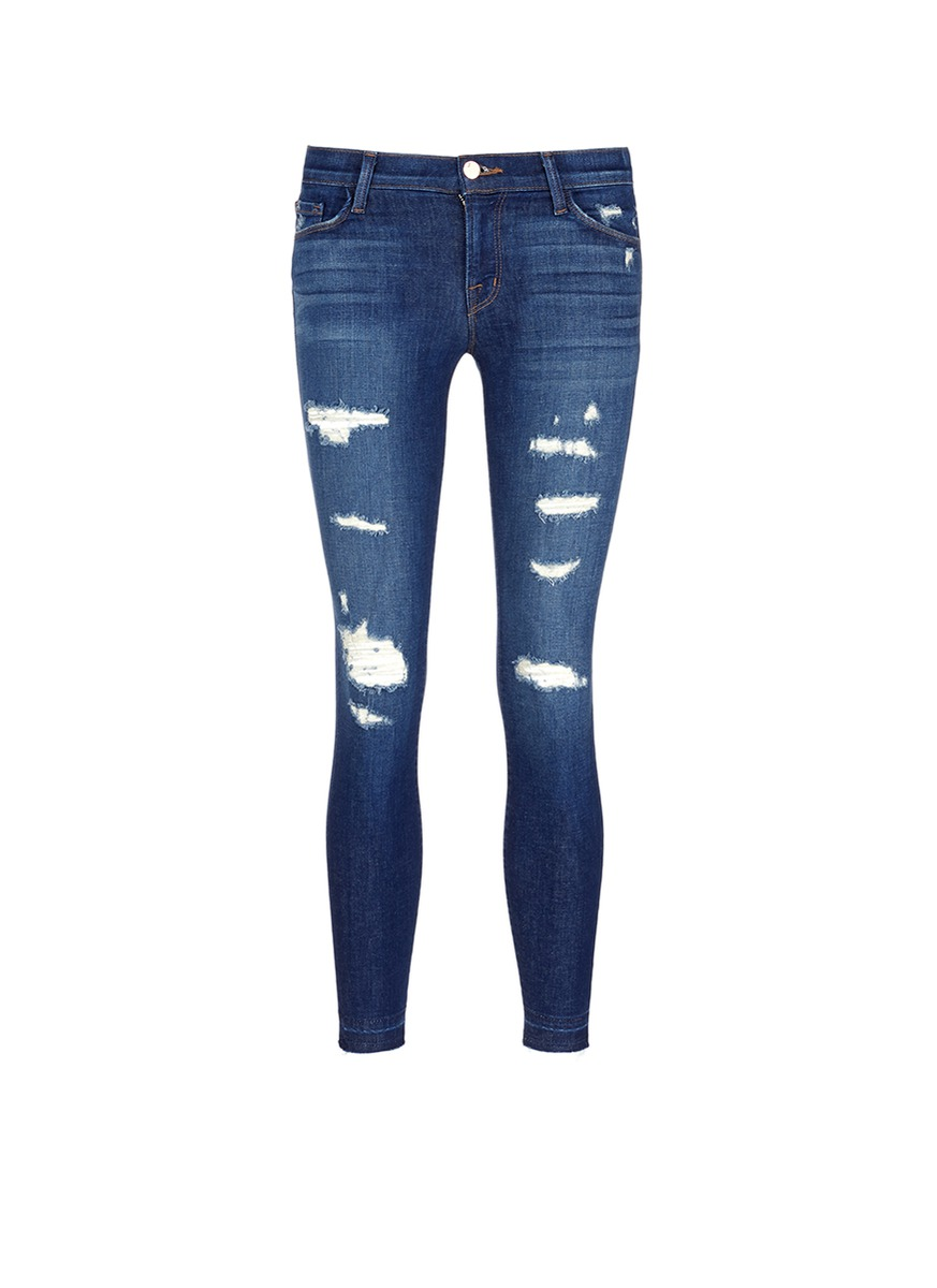 Cropped Skinny distressed jeans by J Brand