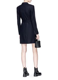 Theory Belted virgin wool blend melton blazer dress