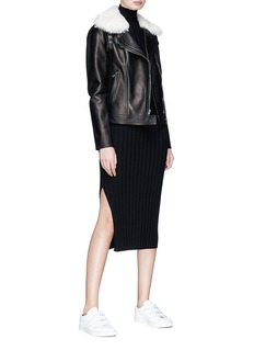 Theory 'Pomono B' lambskin shearling collar leather jacket