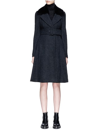 Main View - Click To Enlarge - Theory - Detachable shearling collar belted bouclé coat