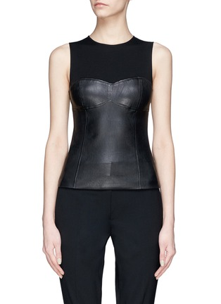 Main View - Click To Enlarge - Theory - Jersey yoke leather tank top