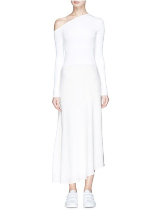 Main View - Click To Enlarge - Theory - Knit panel one-shoulder silk dress
