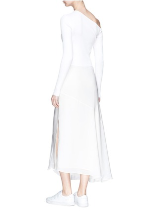 Figure View - Click To Enlarge - Theory - Knit panel one-shoulder silk dress