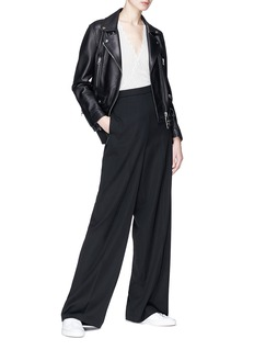 Theory 'Fluid' pinstripe asymmetric drape silk crepe top