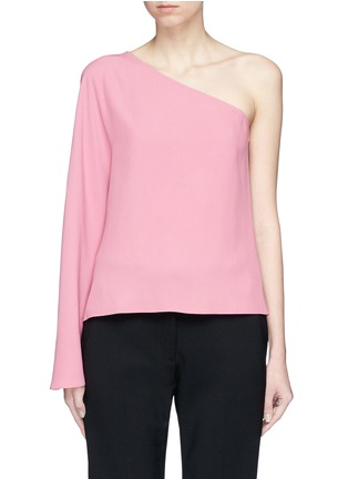 Main View - Click To Enlarge - Theory - 'Ruza' flare sleeve one-shoulder satin crepe top