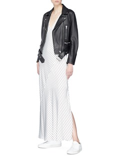 Theory Pinstripe satin maxi dress