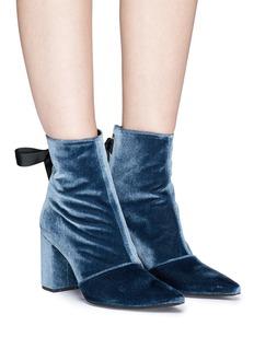 Robert Clergerie 'Karlit' ribbon tie velvet ankle boots
