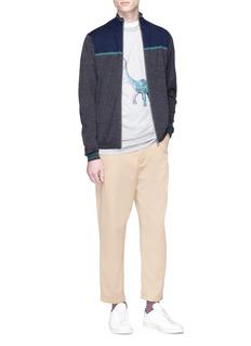 PS by Paul Smith Colourblock Merino wool zip cardigan