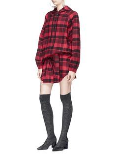 Adaptation Sleeve tie tartan plaid cotton flannel mini skirt