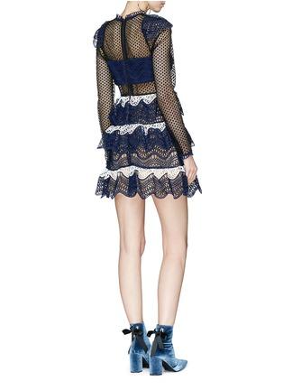 Figure View - Click To Enlarge - self-portrait - Mesh panel wavy guipure lace mini dress