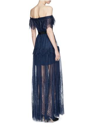 Figure View - Click To Enlarge - self-portrait - Floral guipure lace off-shoulder maxi dress