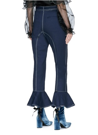 Back View - Click To Enlarge - self-portrait - Belted ruffle cuff cropped twill pants