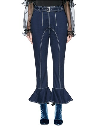 Main View - Click To Enlarge - self-portrait - Belted ruffle cuff cropped twill pants