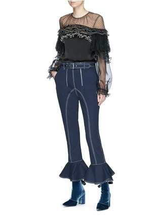 Figure View - Click To Enlarge - self-portrait - Belted ruffle cuff cropped twill pants