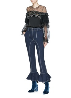 self-portrait Belted ruffle cuff cropped twill pants