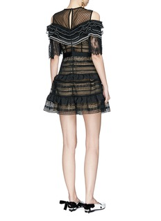 self-portrait Organdy ruffle mesh yoke guipure lace dress
