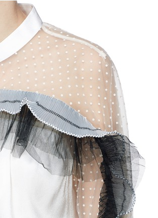 Detail View - Click To Enlarge - self-portrait - Tulle ruffle mesh yoke satin top