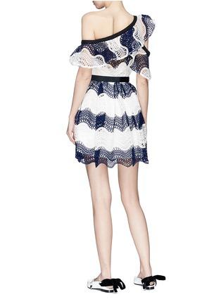 Figure View - Click To Enlarge - self-portrait - Colourblock wavy guipure lace one-shoulder mini dress