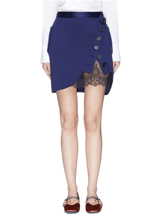 Main View - Click To Enlarge - self-portrait - Guipure lace panel asymmetric satin skirt