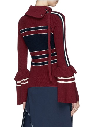 Back View - Click To Enlarge - self-portrait - Bell cuff lace-up colourblock sweater