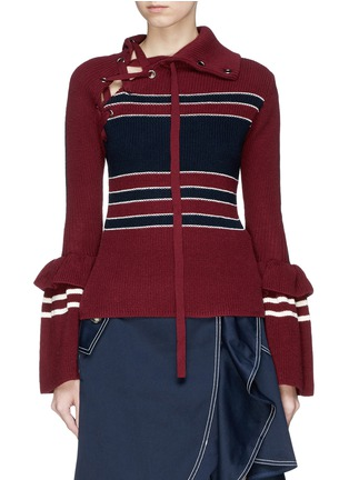 Main View - Click To Enlarge - self-portrait - Bell cuff lace-up colourblock sweater