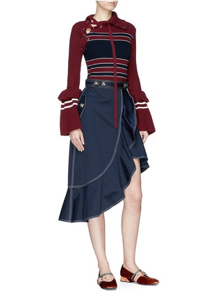 Figure View - Click To Enlarge - self-portrait - Bell cuff lace-up colourblock sweater