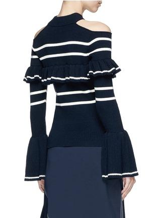Back View - Click To Enlarge - self-portrait - Frill stripe cold-shoulder sweater