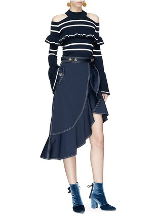Figure View - Click To Enlarge - self-portrait - Frill stripe cold-shoulder sweater
