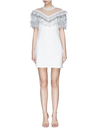 Main View - Click To Enlarge - self-portrait - Organdy frill mesh yoke cady dress