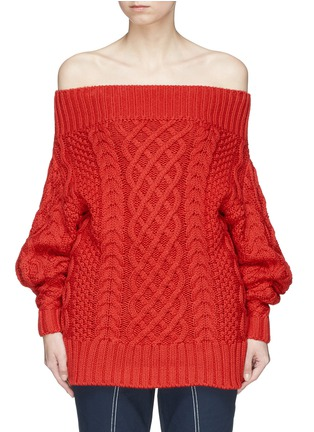Main View - Click To Enlarge - self-portrait - Oversized off-shoulder cable knit sweater