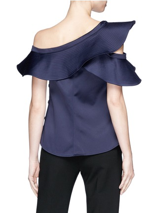 Back View - Click To Enlarge - self-portrait - Asymmetric frill one-shoulder satin top