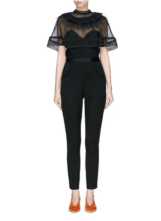 Main View - Click To Enlarge - self-portrait - Chiffon cape overlay cady jumpsuit