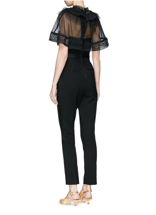 Figure View - Click To Enlarge - self-portrait - Chiffon cape overlay cady jumpsuit