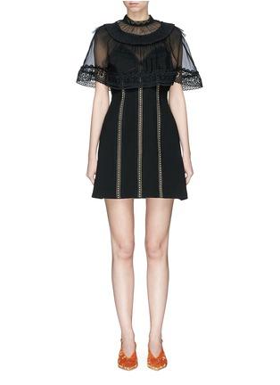 Main View - Click To Enlarge - self-portrait - Chiffon cape overlay cady mini dress
