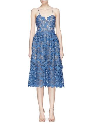 Main View - Click To Enlarge - self-portrait - 3D floral guipure lace midi dress