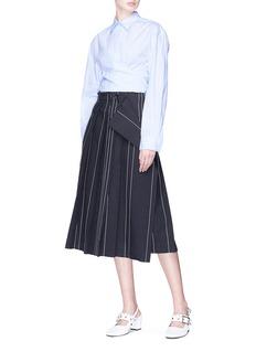 Cédric Charlier Stripe pleated mock wrap midi skirt