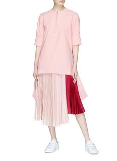 Cédric Charlier Colourblock plissé pleated satin skirt