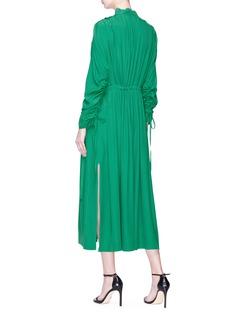 Cédric Charlier Buckled neck pleated crepe midi dress