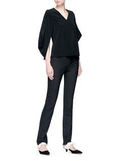 Co Peaked cutout drape sleeve crepe top