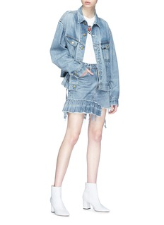 Icons Reconstructed asymmetric peplum denim skirt