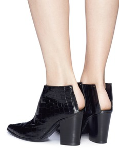 Alumnae Croc embossed leather cutout counter ankle boots