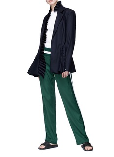 Maggie Marilyn 'I Lead from the Heart' asymmetric ruffle placket wool blazer