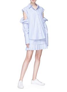 Maggie Marilyn 'Lucy' ruffle hem stripe poplin mini skirt