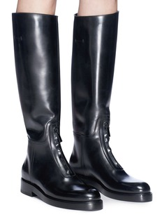 Alumnae Zip front knee high leather riding boots
