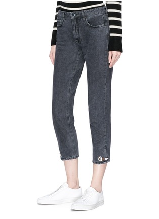 Front View - Click To Enlarge - VICTORIA, VICTORIA BECKHAM - Hook-and-eye cuff cropped jeans
