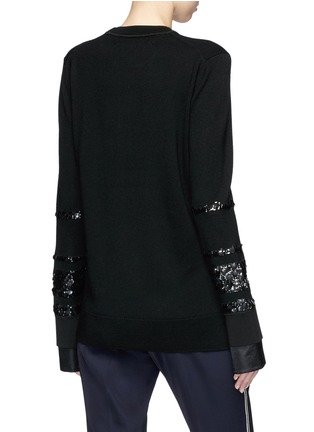 Back View - Click To Enlarge - VICTORIA, VICTORIA BECKHAM - Paillette stripe Merino wool sweater