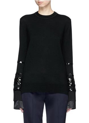 Main View - Click To Enlarge - VICTORIA, VICTORIA BECKHAM - Paillette stripe Merino wool sweater