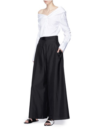 Figure View - Click To Enlarge - VICTORIA, VICTORIA BECKHAM - One-shoulder poplin shirt