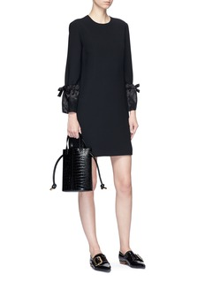 VICTORIA, VICTORIA BECKHAM Tie satin cuff suiting dress